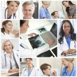 Medical Hospital Doctors Montage Men Women Patients — Stock Photo #21746007