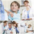 Medical Montage Men Women & Child Hospital Patients - Stock Photo