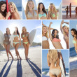 Stock Photo: Montage Three Young Women on a Beach with Surfboards
