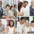 Montage of Uisng Modern Computer Technology — Stock Photo