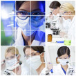 Medical Science Research Montage of Women in Laboratory — Stock Photo