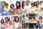 Montage of Asian Indian Family Eating Healthy Food — 图库照片