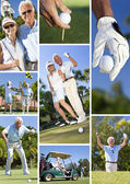 Happy Senior Couple Playing Golf Montage — Stock Photo