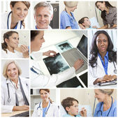 Medical Hospital Doctors Montage Men Women Patients — Stock Photo