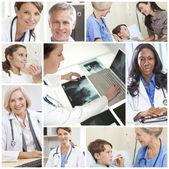 Medische artsen montage mannen vrouwen ziekenhuispatiënten — Stockfoto