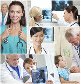 Medical Montage Men Women and Patients in Hospital — Stock Photo