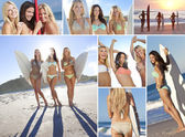 Montage Three Young Women on a Beach with Surfboards — Stock Photo