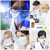 Medische wetenschap onderzoek montage van vrouwen in laboratorium — Stockfoto