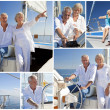 Montage of Senior Sailing on Luxury Yacht — Stock Photo #21778773