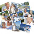Royalty-Free Stock Photo: Happy Retired Senior Couples Montage Romantic Vacation