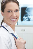 Female Woman Hospital Doctor with X-Rays — Stock Photo