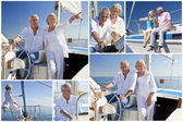 Montage of Senior Sailing on Luxury Yacht — Stock Photo