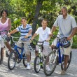 African American Parents Boy Children Riding Bikes — Stock Photo