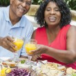 Senior African American Couple Healthy Eating Outside — Stock Photo