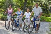 African American Parents Boy Children Riding Bikes — Stock Photo
