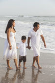 Mother, Father & Boy Child Family Walking on Beach — Stock Photo