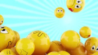Smiling balls falling down — Stock Video