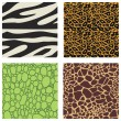 Stock Vector: Set of 4 animal skin patterns
