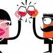 Stock Vector: Cartoon characters celebrate drinking wine
