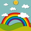 Royalty-Free Stock Vektorfiler: Stylized vector landscape with rainbow,sun and clouds