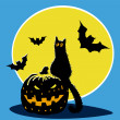 图库矢量图片: Halloween pumpkin, black cat, bats and moon