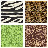 Set of 4 animal skin patterns — Stock Vector
