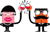 Cartoon characters celebrate drinking wine — Stock Vector