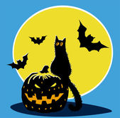 Halloween pumpkin, black cat, bats and moon — Stock Vector