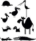 набор силуэтов животных мультфильм — Cтоковый вектор