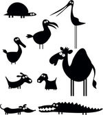 Conjunto de silhuetas de animais dos desenhos animados — Vetorial Stock