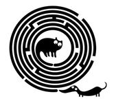 Funny cat and mouse in round maze — Stock Vector
