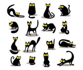 Set of black cats — Stock Vector