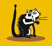 有趣的猫给自己洗脸 — 图库矢量图片