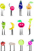 Funny Fruits and Vegetables — Stock Vector