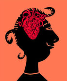 Woman with heart inside head — Stock Vector