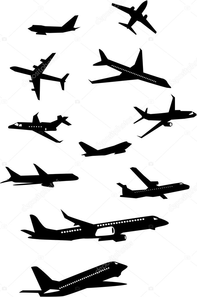 飞机剪影的集合 — 矢量图片作者