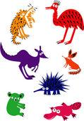 Set of Funny Australian Animals — Stock Vector