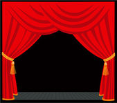 Red curtain of classical theater — Stock Vector