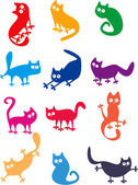 Set of funny cats — Stock Vector