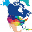 Colorful North America map — Stockvectorbeeld