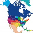 Colorful North Americmap — Vector de stock #26423859