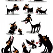 Set of black animal silhouettes — Stock Vector #27124417