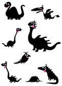 Set of black animal silhouettes — Vecteur