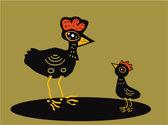 Hen with chicken — Stock Vector