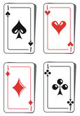 Four aces playing cards — Stock Vector