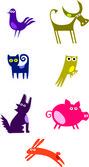 Set of Funny Animals — Stock Vector
