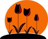 Garden with tulips — Stock Vector