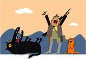犬とオオカミのハンター — ストックベクタ