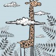 Funny giraffe in clouds — Stock Vector