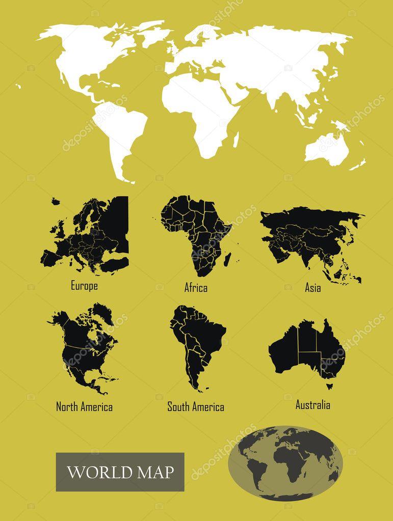 与各大洲的世界地图
